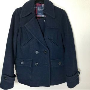 American Eagle Outfitters Navy Wool Pea Coat Large